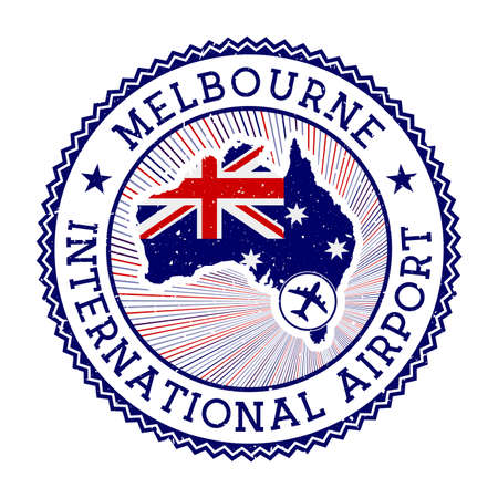 Melbourne International Airport stamp. Airport logo vector illustration. Melbourne aeroport with country flag. Ilustração
