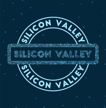 Silicon valley. Glowing round badge. Network style geometric silicon valley stamp in space. Vector illustration.