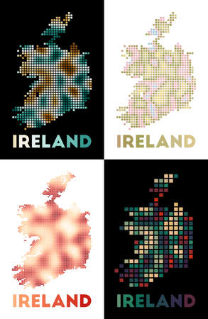 Ireland map. Collection of map of Ireland in dotted style. Borders of the country filled with rectangles for your design. Vector illustration.