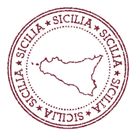 Sicilia round rubber stamp with island map. Vintage red passport stamp with circular text and stars, vector illustration. Vetores