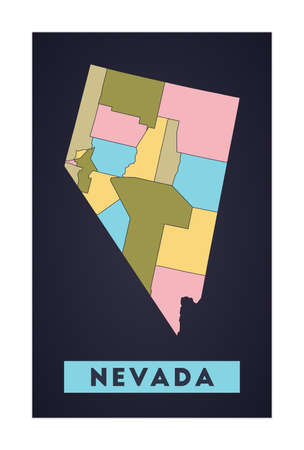 Nevada map. Us state poster with regions. Shape of Nevada with us state name. Cool vector illustration.