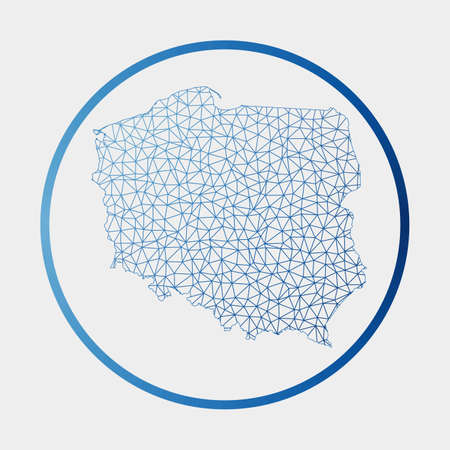 Poland icon. Network map of the country. Round Poland sign with gradient ring. Technology, internet, network, telecommunication concept. Vector illustration.