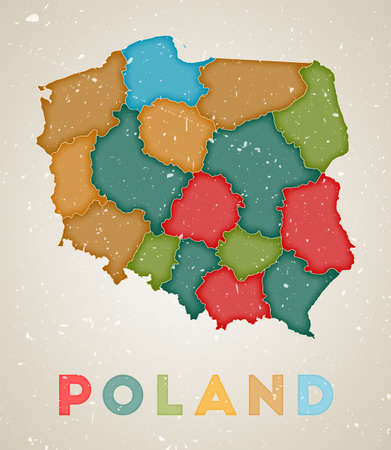Poland map. Country poster with colored regions. Old grunge texture. Vector illustration of Poland with country name.