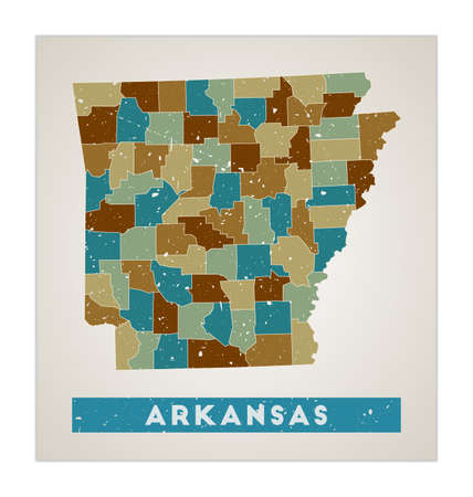 Arkansas map. Us state poster with regions. Old grunge texture. Shape of Arkansas with us state name. Amazing vector illustration.