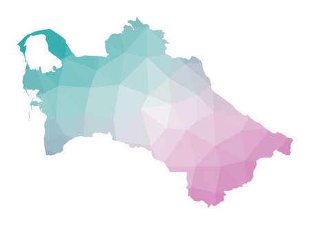 Polygonal map of Turkmenistan. Geometric illustration of the country in emerald amethyst colors. Turkmenistan map in low poly style. Technology, internet, network concept. Vector illustration.