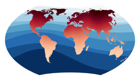 World Map Vector. Wagner projection. World in red orange gradient on deep blue ocean waves. Charming vector illustration.