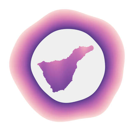 Tenerife icon. Colorful gradient logo of the island. Purple red Tenerife rounded sign with map for your design. Vector illustration. Иллюстрация