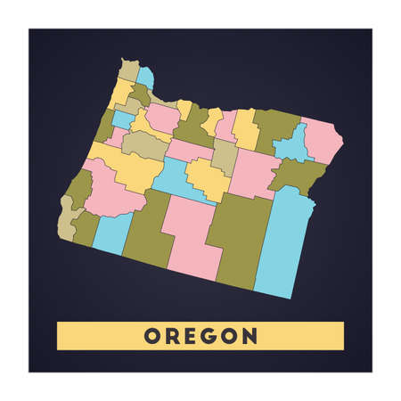 Oregon map. Us state poster with regions. Shape of Oregon with us state name. Neat vector illustration. 向量圖像