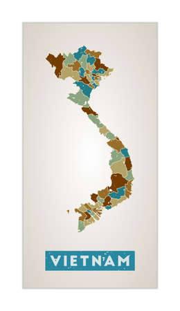 Vietnam map. Country poster with regions. Old grunge texture. Shape of Vietnam with country name. Powerful vector illustration.