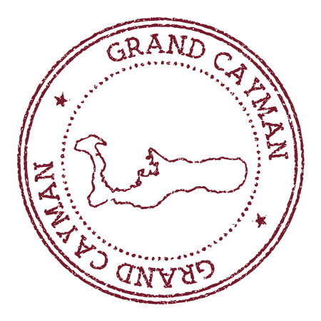 Grand Cayman round rubber stamp with island map. Vintage red passport stamp with circular text and stars, vector illustration. Иллюстрация