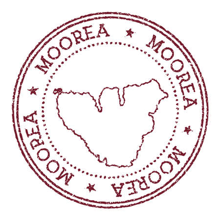 Moorea round rubber stamp with island map. Vintage red passport stamp with circular text and stars, vector illustration.