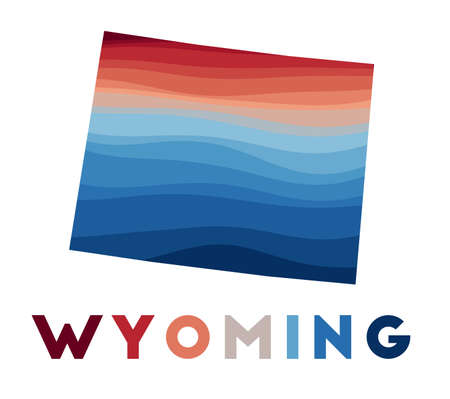 Wyoming map. Map of the us state with beautiful geometric waves in red blue colors. Vivid Wyoming shape. Vector illustration.