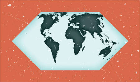 World Map Poster. Eckert II projection. Vintage World shape with grunge texture. Amazing vector illustration.