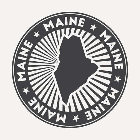 Maine round logo. Vintage travel badge with the circular name and map of us state, vector illustration. Can be used as insignia, logotype, label, sticker or badge of the Maine. Иллюстрация