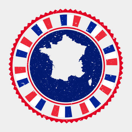 France grunge stamp. Round logo with map and flag of France. Country stamp. Vector illustration. Иллюстрация