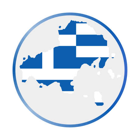 Skiathos icon. Shape of the island with Skiathos flag. Round sign with flag colors gradient ring. Creative vector illustration.