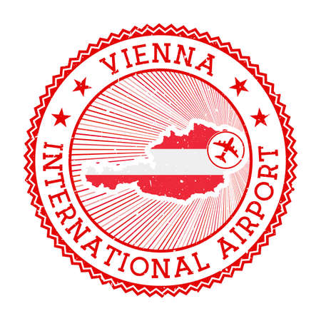 Vienna International Airport stamp. Airport logo vector illustration. Vienna aeroport with country flag.