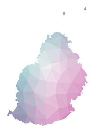 Polygonal map of Mauritius. Geometric illustration of the island in emerald amethyst colors. Mauritius map in low poly style. Technology, internet, network concept. Vector illustration.