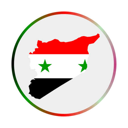 Syria icon. Shape of the country with Syria flag. Round sign with flag colors gradient ring. Powerful vector illustration.