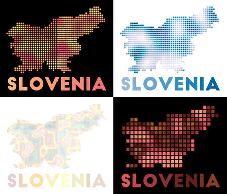 Slovenia map. Collection of map of Slovenia in dotted style. Borders of the country filled with rectangles for your design. Vector illustration.