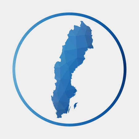 Sweden icon. Polygonal map of the country in gradient ring. Round low poly Sweden sign. Vector illustration.