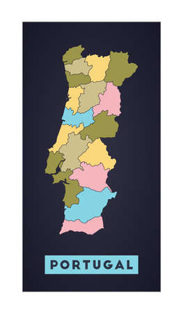Portugal map. Country poster with regions. Shape of Portugal with country name. Classy vector illustration. Иллюстрация