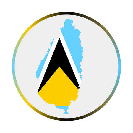 Saint Lucia icon. Shape of the island with Saint Lucia flag. Round sign with flag colors gradient ring. Radiant vector illustration.