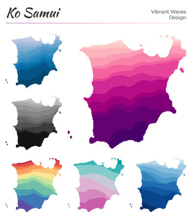 Set of vector maps of Ko Samui. Vibrant waves design. Bright map of island in geometric smooth curves style. Multicolored Ko Samui map for your design. Modern vector illustration.