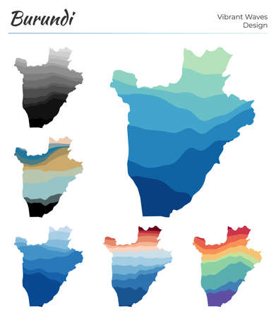 Set of vector maps of Burundi. Vibrant waves design. Bright map of country in geometric smooth curves style. Multicolored Burundi map for your design. Radiant vector illustration. Иллюстрация