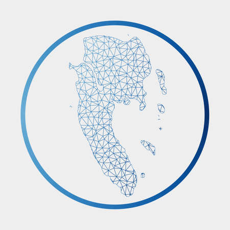 Ko Lanta icon. Network map of the island. Round Ko Lanta sign with gradient ring. Technology, internet, network, telecommunication concept. Vector illustration. Иллюстрация
