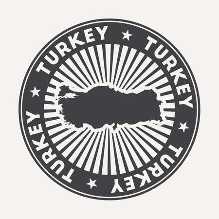 Turkey round logo. Vintage travel badge with the circular name and map of country, vector illustration. Can be used as insignia, logotype, label, sticker or badge of the Turkey.
