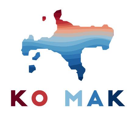 Ko Mak map. Map of the island with beautiful geometric waves in red blue colors. Vivid Ko Mak shape. Vector illustration. Иллюстрация