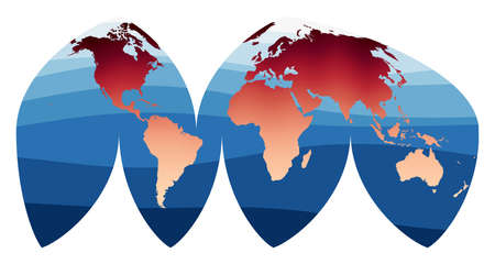 World Map Vector. Bogg's interrupted eumorphic projection. World in red orange gradient on deep blue ocean waves. Beautiful vector illustration.