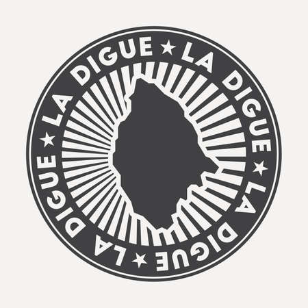 La Digue round logo. Vintage travel badge with the circular name and map of island, vector illustration. Can be used as insignia, logotype, label, sticker or badge of the La Digue. Иллюстрация