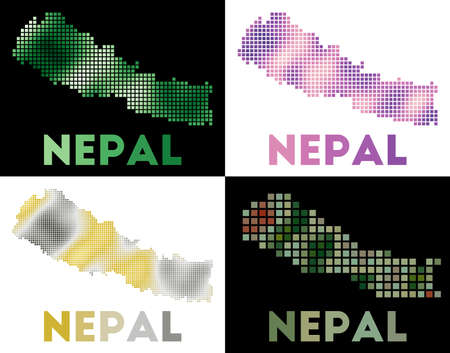 Nepal map. Collection of map of Nepal in dotted style. Borders of the country filled with rectangles for your design. Vector illustration. Иллюстрация