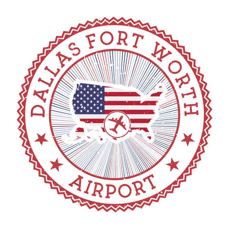 Dallas Fort Worth Airport stamp. Airport logo vector illustration. Dallas-Fort Worth aeroport with country flag.