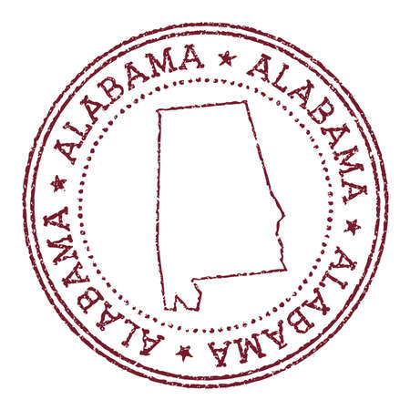 Alabama round rubber stamp with us state map. Vintage red passport stamp with circular text and stars, vector illustration.
