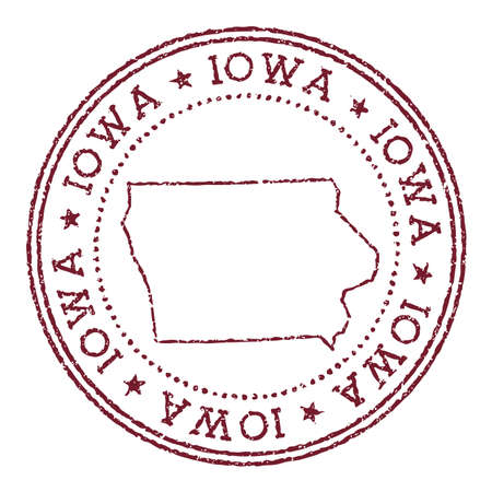 Iowa round rubber stamp with us state map. Vintage red passport stamp with circular text and stars, vector illustration. Иллюстрация