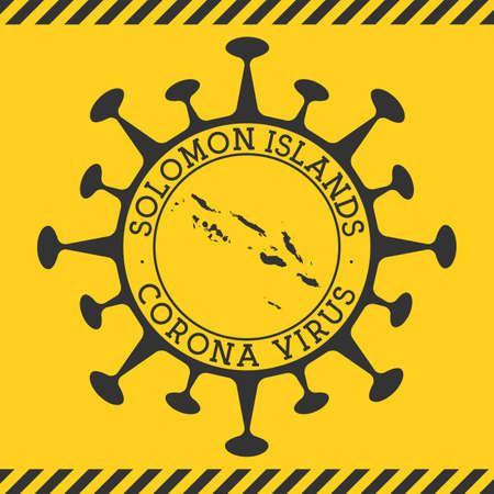 Corona virus in Solomon Islands sign. Round badge with shape of virus and Solomon Islands map. Yellow country epidemy lock down stamp. Vector illustration. Иллюстрация