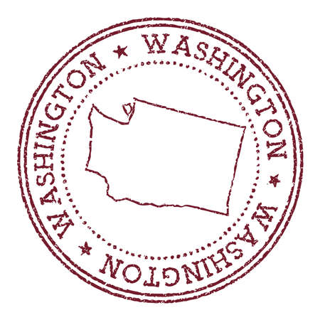 Washington round rubber stamp with us state map. Vintage red passport stamp with circular text and stars, vector illustration.