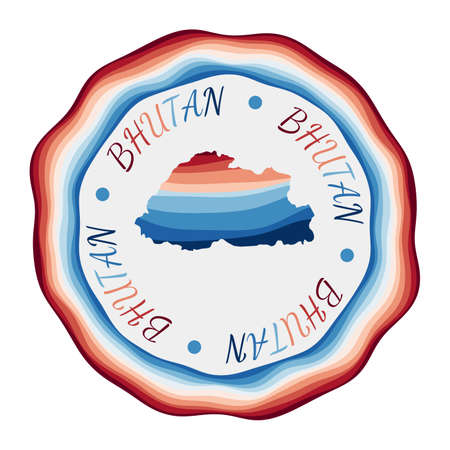 Bhutan badge. Map of the country with beautiful geometric waves and vibrant red blue frame. Vivid round Bhutan logo. Vector illustration. Иллюстрация