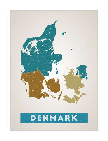 Denmark map. Country poster with regions. Old grunge texture. Shape of Denmark with country name. Attractive vector illustration.