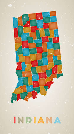 Indiana map. Us state poster with colored regions. Old grunge texture. Vector illustration of Indiana with us state name.