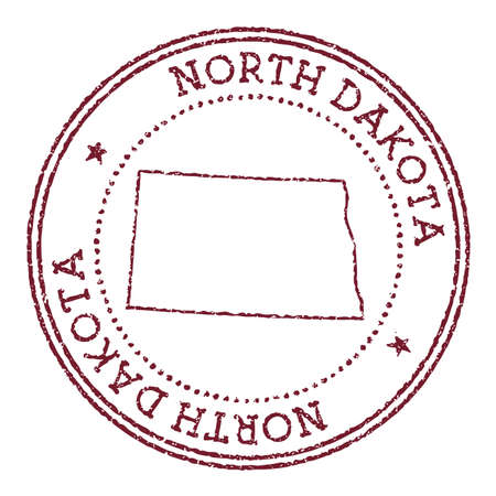 North Dakota round rubber stamp with us state map. Vintage red passport stamp with circular text and stars, vector illustration. Иллюстрация