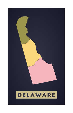 Delaware map. Us state poster with regions. Shape of Delaware with us state name. Cool vector illustration.
