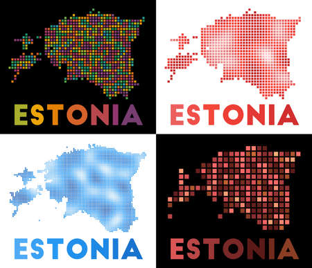 Estonia map. Collection of map of Estonia in dotted style. Borders of the country filled with rectangles for your design. Vector illustration. Иллюстрация