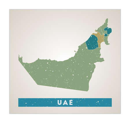 UAE map. Country poster with regions. Old grunge texture. Shape of UAE with country name. Charming vector illustration. Иллюстрация
