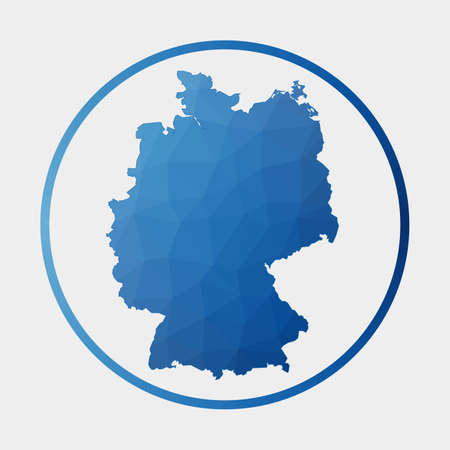 Germany icon. Polygonal map of the country in gradient ring. Round low poly Germany sign. Vector illustration.