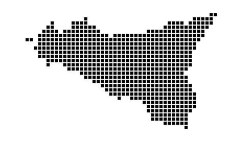 Sicilia map. Map of Sicilia in dotted style. Borders of the island filled with rectangles for your design. Vector illustration.