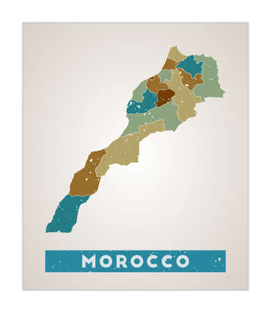 Morocco map. Country poster with regions. Old grunge texture. Shape of Morocco with country name. Modern vector illustration.